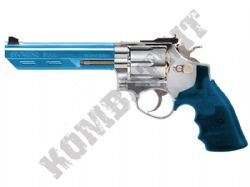 HG133 6 Shot Revolver Pistol Gas Powered Airsoft BB Gun 2 Tone Silver Blue